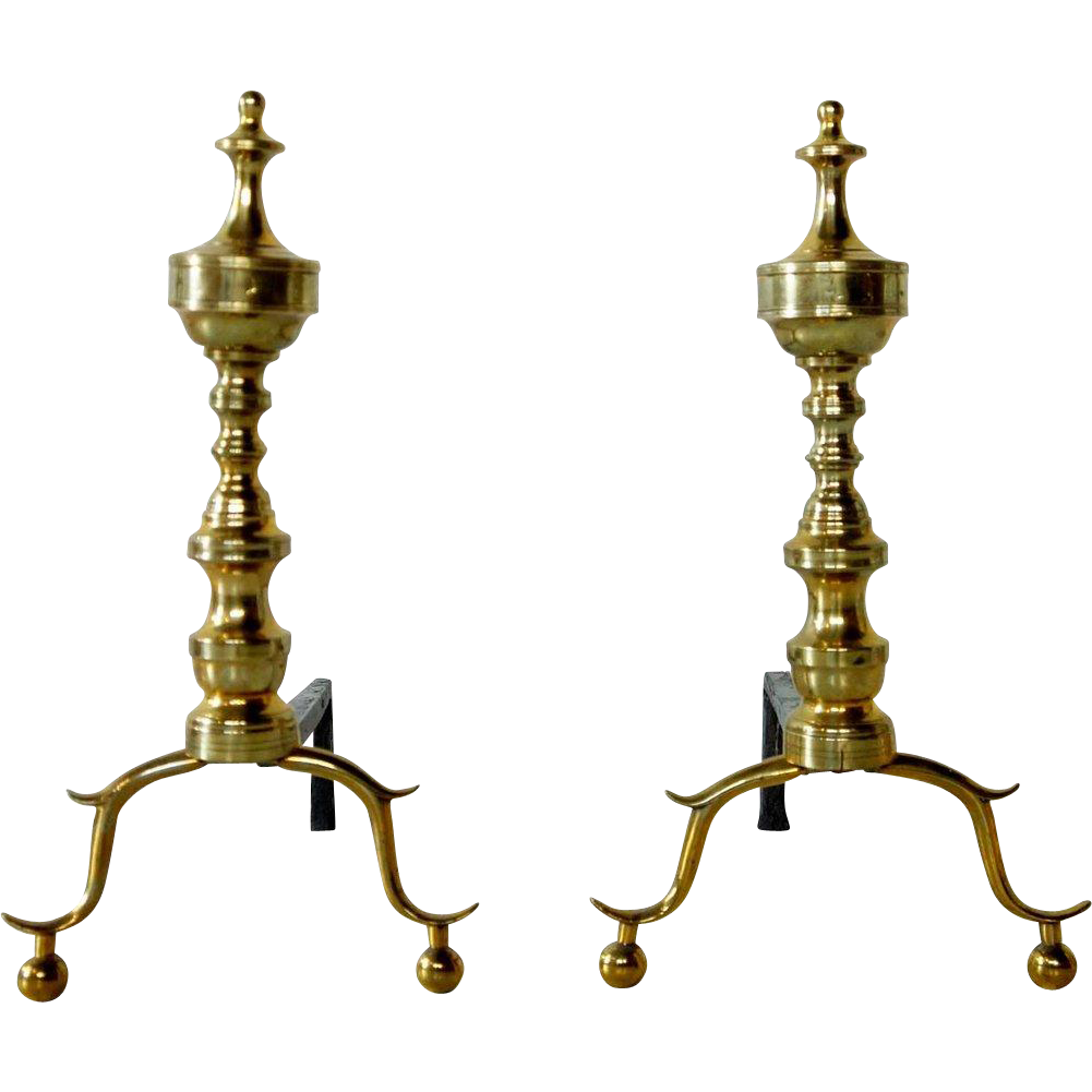 Pair of American Chippendale Brass and Iron Fireplace Andirons