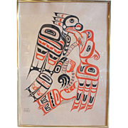 TONY HUNT Northwest Coast First Nations 2-Color Serigraph, Hawkman & Thunderbird