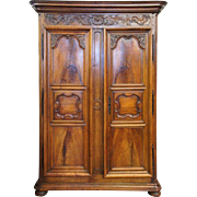French Provincial Louis XV Walnut Armoire