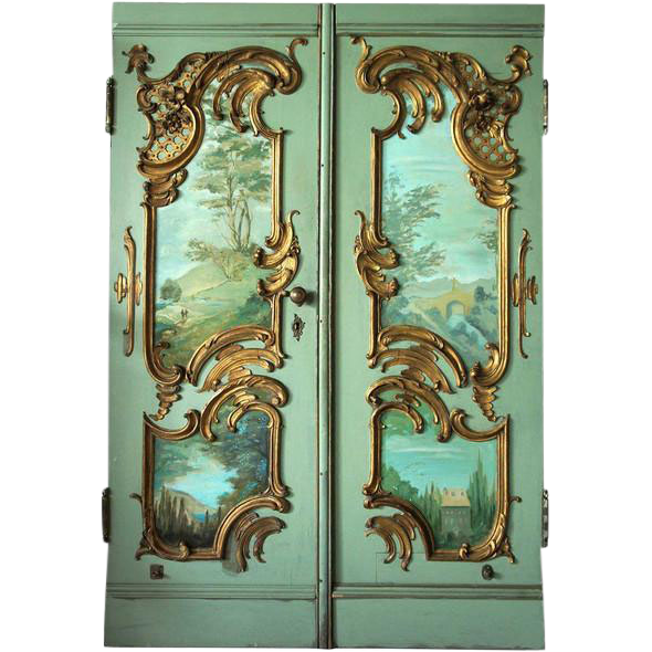 Pair of french louis xv style painted double door with for Baroque glass door