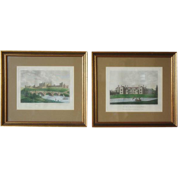 After JAMES LUTTRELL Pair Colored Copper Engravings, Grand Estates and Manors