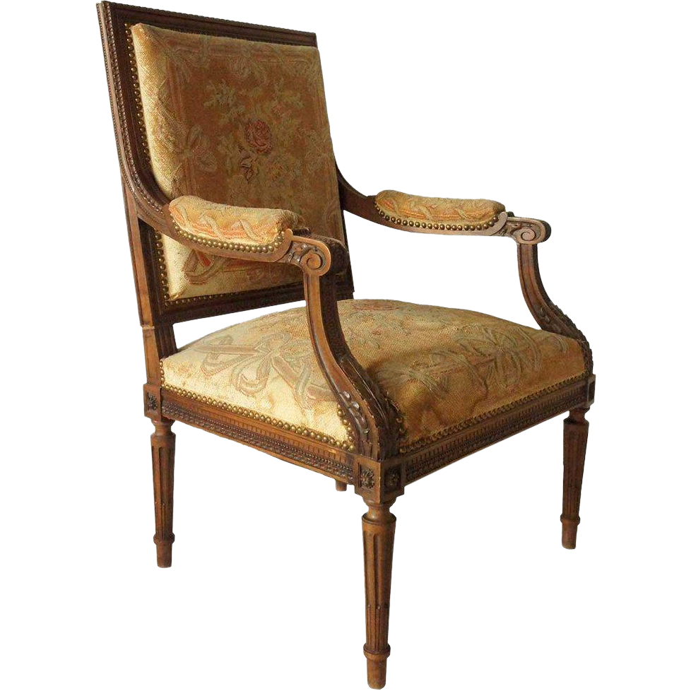 French Louis XVI Style Walnut Needlepoint Upholstered Armchair