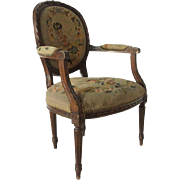 French Louis XVI Style Beech Upholstered Armchair