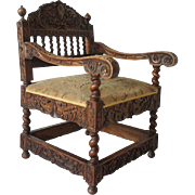 French Carved Walnut Upholstered Seat Low Armchair