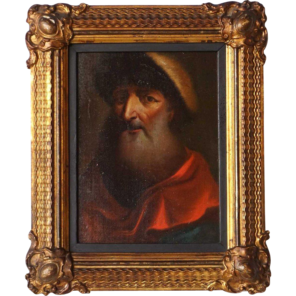 Russian School Oil on Panel Painting, Portrait of Cleric