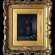 Vincent Jean-Baptiste CHEVILLARD Oil on Panel Painting, A Priest Tasting Wine