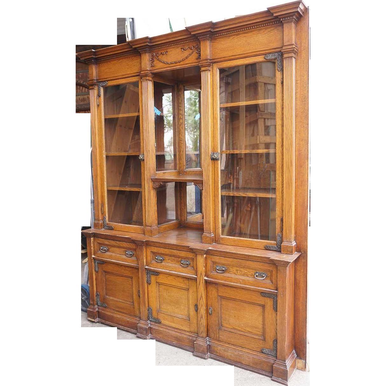 Victorian Oak Glazed Door Built In Bookcase Display