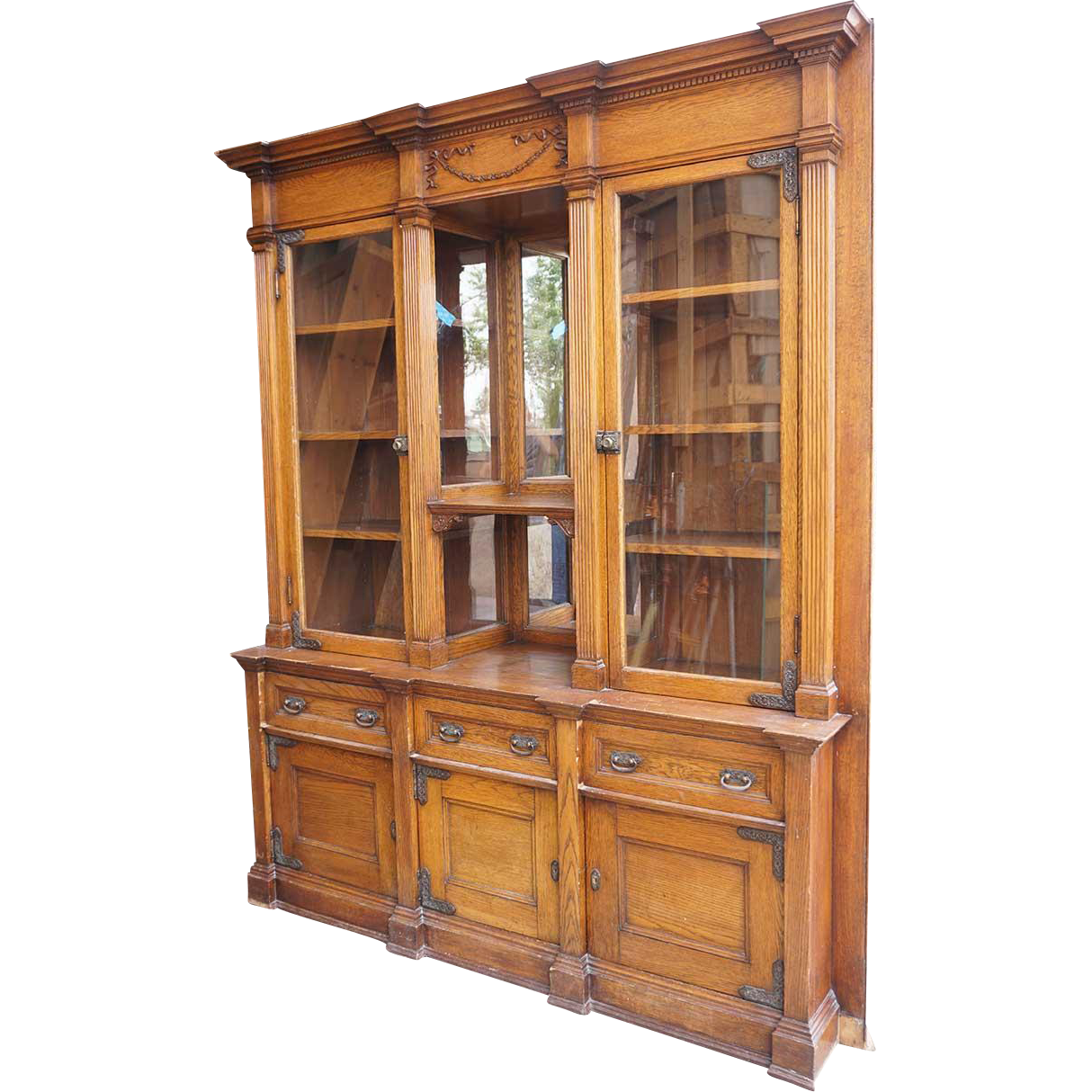 Victorian Oak Glazed Door Built-In Bookcase Display Cabinet