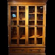 Large Victorian Oak Glazed Door Built-in Bookcase Cabinet