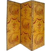 French Three-Panel Room Screen with 18th Century Toile Fabric