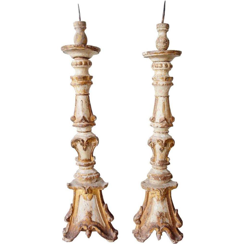 Rare Pair of Indo-Portuguese Baroque Teak Candlesticks