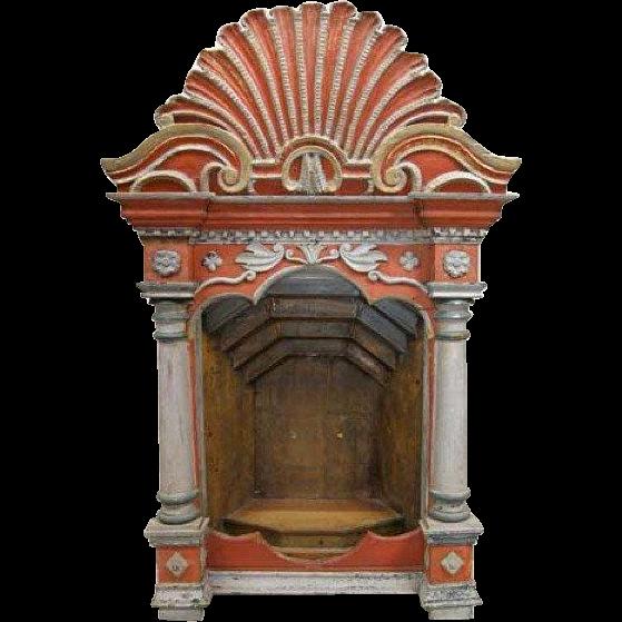 Indo-Portuguese Painted Altar Niche
