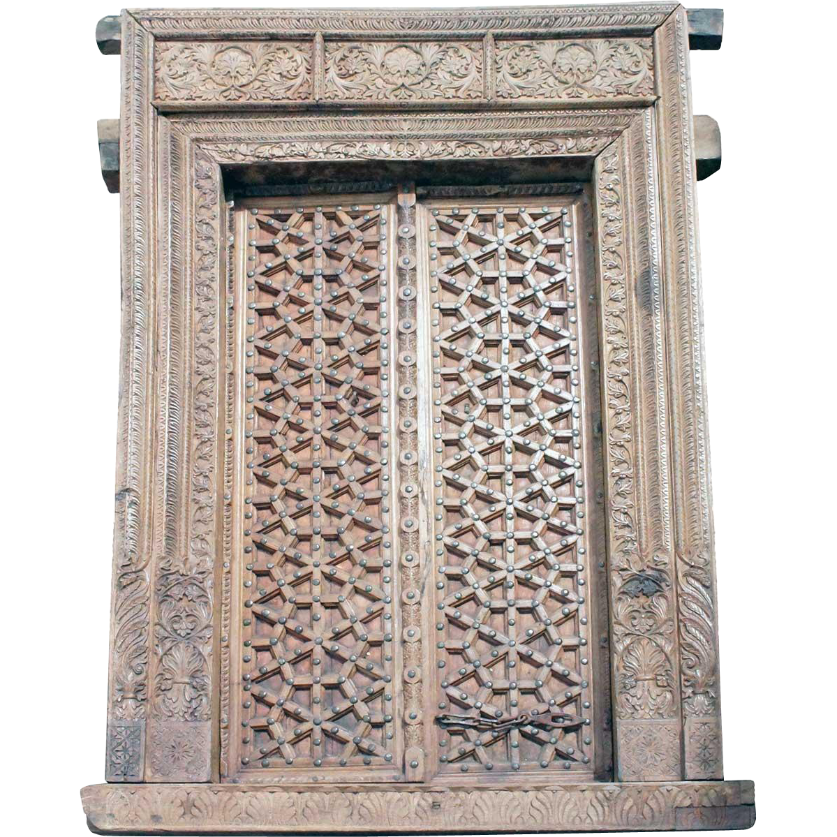 Indian Rajasthani Teak Double Doorway and Frame
