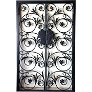 Victorian Style Wrought Iron Exterior Double Door Gate