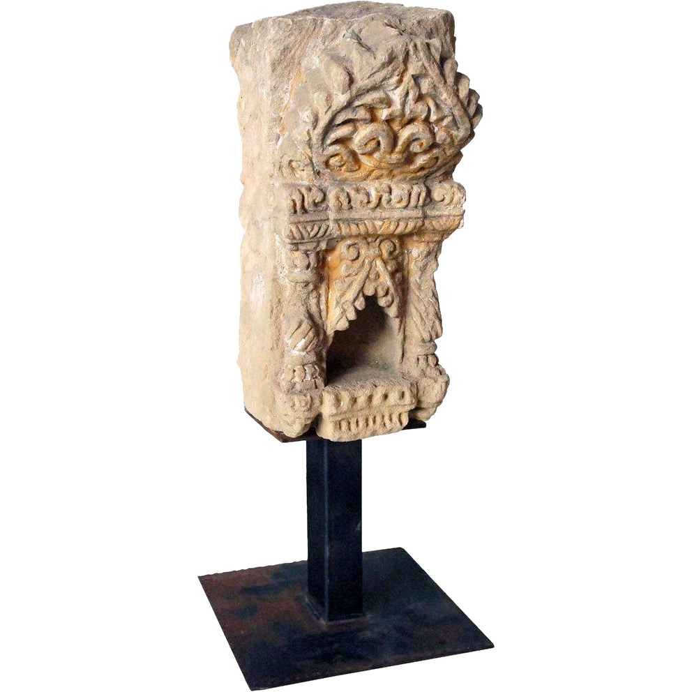 Indian Limestone Shrine on Stand