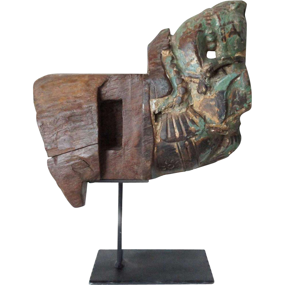 Indian Green Painted Teak Architectural Horse Bracket Fragment on Stand