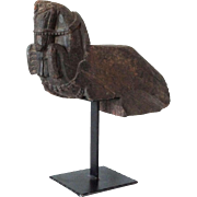 Indian Teak Architectural Horse Fragment on Stand