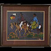 ARTHUR BEGAY SR. Tempera on Paper, Riders on Horseback