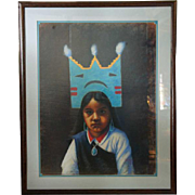 FELIX R. VIGIL Pastel Portrait of a Native American Girl