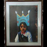 FELIX R. VIGIL Pastel Portrait of a Native American Girl