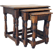 Set of Three English Jacobean Style Oak Nesting Side Tables