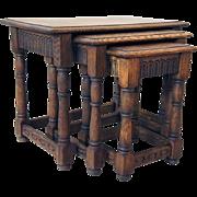 Set of Three English Jacobean Style Oak Nesting Side Tables