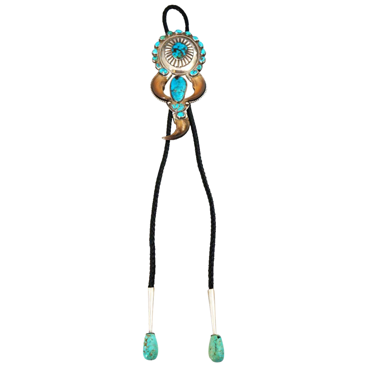 Vintage American Paul Noel Silver, Turquoise and Bear Claw Concha Bolo Tie