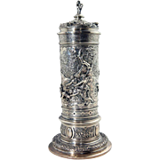 German Hanau J.D. Schleissner & Sohne Baroque Revival Silver Covered Beaker