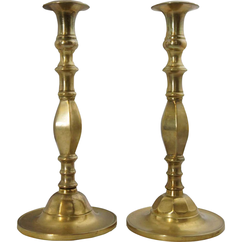 Pair of Russian Brass Candlesticks Ref: L3501