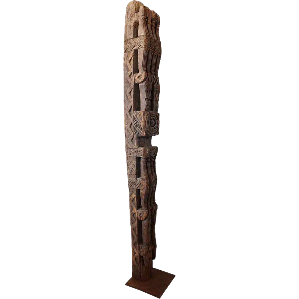 Afghan Nuristan Province Himalayan Cedar Architectural Pillar Post on Stand