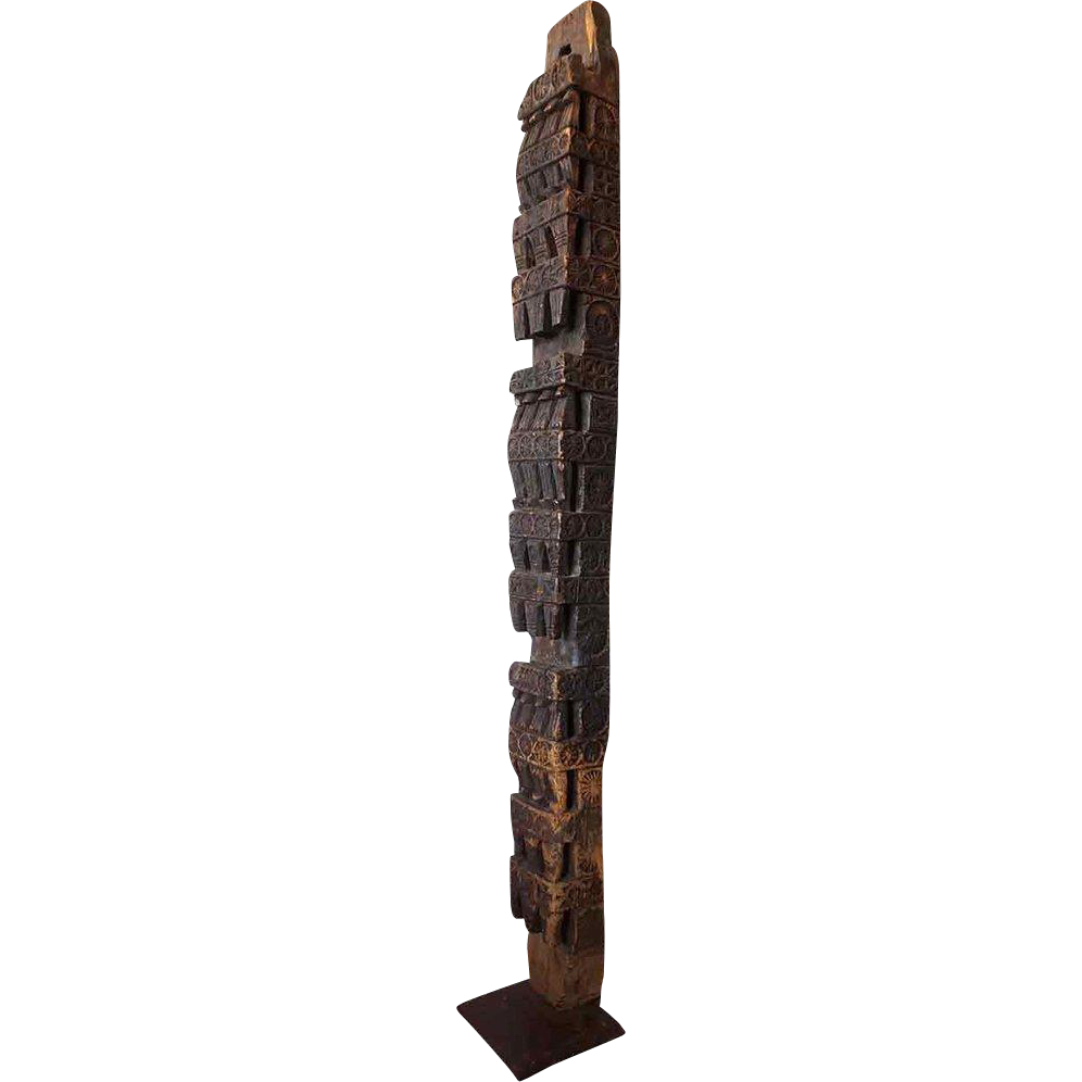 Afghan Nuristan Himalayan Cedar Architectural Pillar Post on Stand