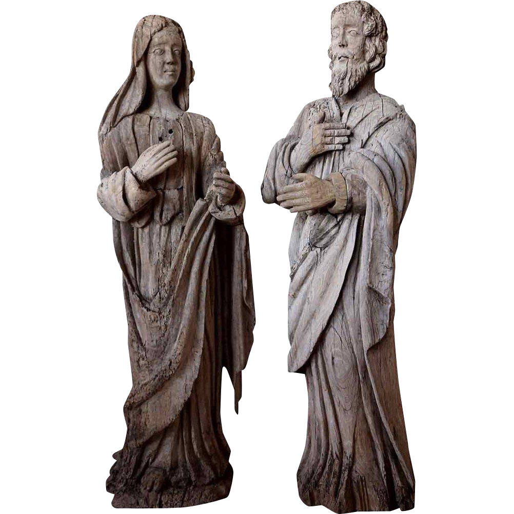 Pair of French Baroque Carved Oak Saints