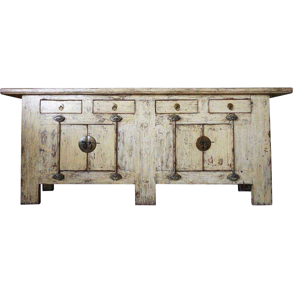 Long Chinese Yellow Lacquered Pine Console Sideboard Cabinet