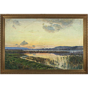 Large Scale VILHELM P. JENSEN Oil on Canvas Painting, Meadow and Lake Landscape