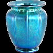 American Steuben Blue Aurene Art Glass Shade Vase