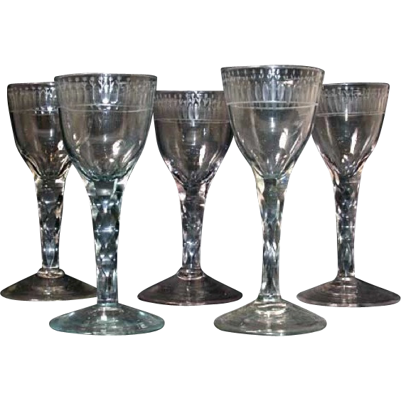 Estate of Danny Kaye, Set of Five Early Swedish Blown and Cut Glass Wines