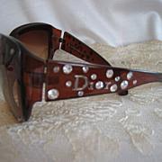 Vintage 90s Christian Dior Sunglasses Rhinestone Studded Arms