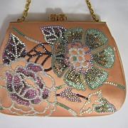 Gorgeous Judith Leiber Purse Evening Bag Rhinestone Flower Design