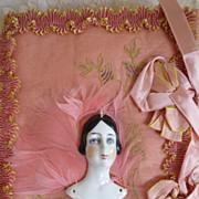 "Art Deco 1920s Porcelain Half Doll ""FLATTIE"" Hankie Press Silk & Feathers"