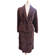 Vtg 1970s Russian Broadtail Lamb Suit Gorgeous Moire Pure Luxury Beverly Hills
