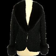 "Vintage 1990s ST. JOHN ""Coat Collection"" Persian Lamb & Black Fox Jacket"