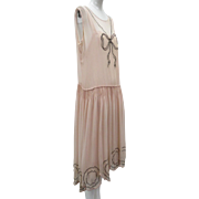 Vtg Art Deco 1920s Baby Pink Silk Dress With Slip Silver Bullion Decoration
