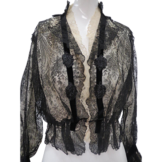 Victorian 1880 Chantilly Lace Silk Lined Formal Blouse Long Sleeves Beading