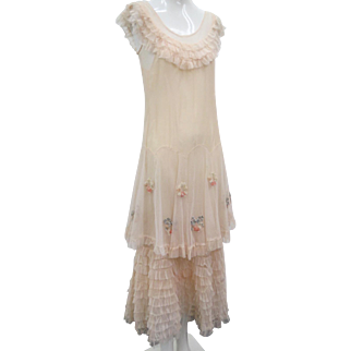 1930s Vintage Silk Satin & French Net Dress With Tiers of Ruffles Large Peplum
