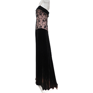 Vintage 1930s French Net Lace & Silk Velvet Long Evening Gown