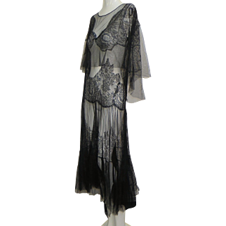 Vtg 1920s All French Net & Chantilly Lace Dress Huge Shawl Over Collar