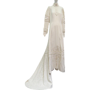 Vtg Victorian 1880 Wedding Dress Cream Worsted Wool Embroidered French Knots