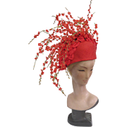 JACK McCONNELL Red Feather Label Hat With Multitudes of Flowers on Stems Rhinestones
