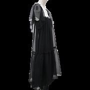 Vintage 1970s Ultra Feminine Ann Marks Paris Pure Silk Chiffon Dress Black Ruffles