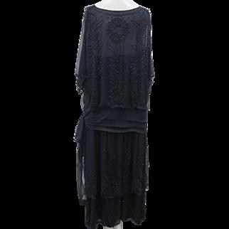 Vintage 1920s Navy Blue Glass Beaded Multi Layer Silk Chiffon & Satin Flapper Dress Side Bow
